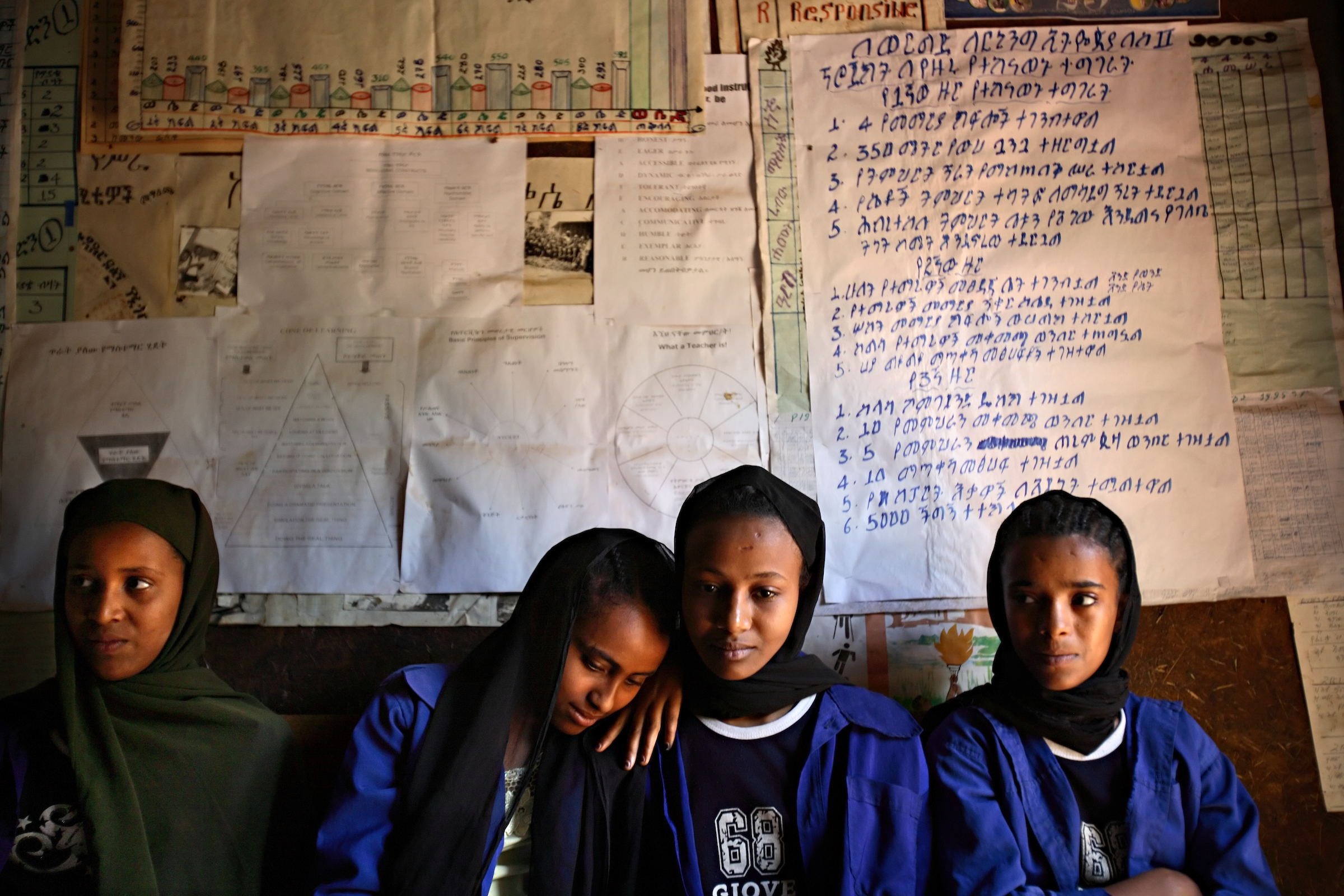 Four married and betrothed Muslim girls attend school near Bahir Dar, Ethiopia. Most married girls, who would like to continue their schooling, are often prevented from doing so.